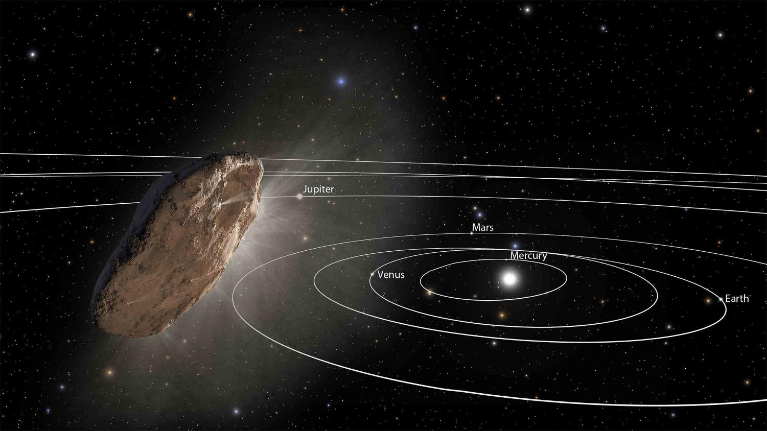 """Interstellar Object 'Oumuamua Exits the Solar System (Artist Concept) (Animation)."" Wikipedia , 2017, en.wikipedia.org/wiki/%CA%BBOumuamua."
