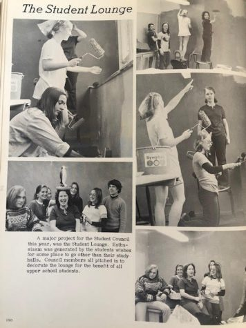 Picture from an old school magazine from 1974 of students making the very first senior lounge